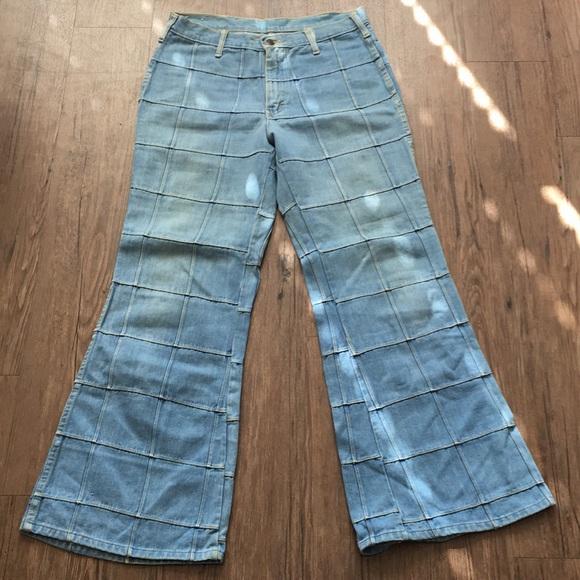 1474d006 Vintage 1970's High-Rise Patchwork Jeans
